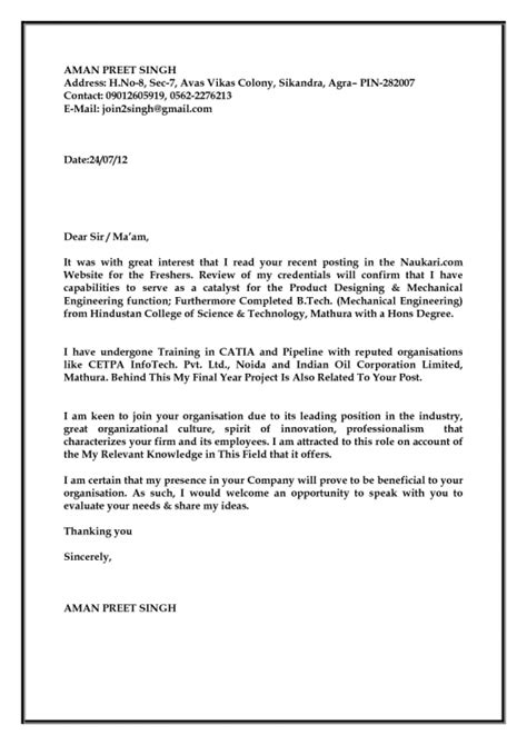 application letter for format for fresher freshrs resume with cover letter resume template exle