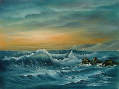 bob ross painting seascape items similar to original seascape in using the bob