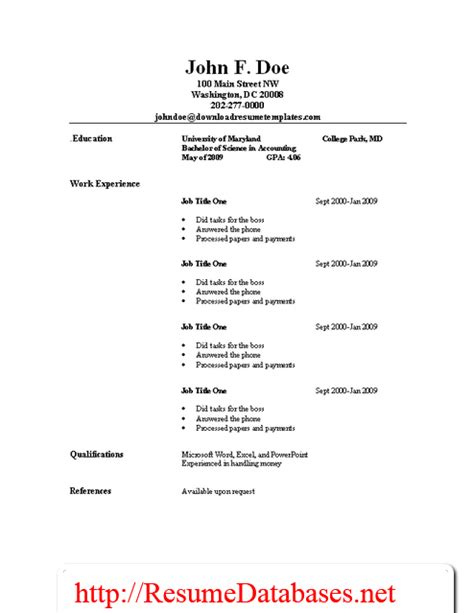 basic resume job template resume templates