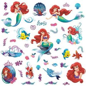 the little mermaid 44 stickers great kidsbedrooms the new large disney little mermaid wall decals ariel stickers