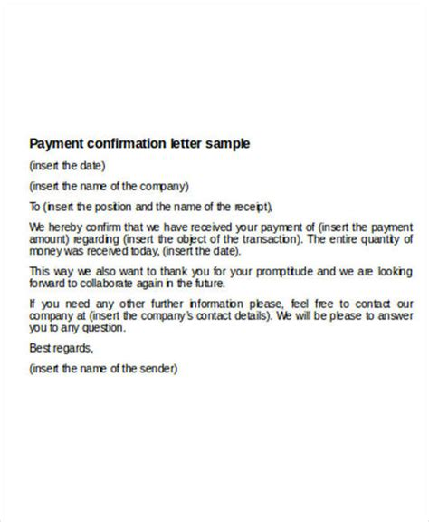 payment letter formats ms word google docs