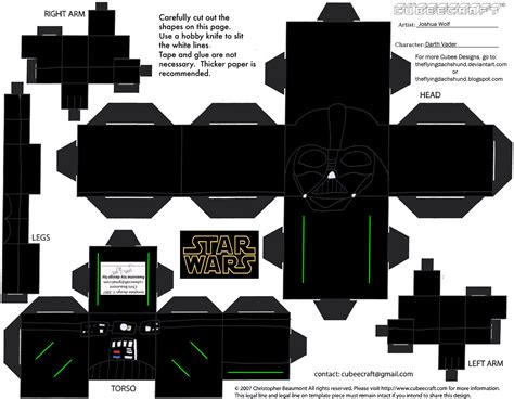 Wars Paper Craft - sw6 darth vader cubee by theflyingdachshund on deviantart
