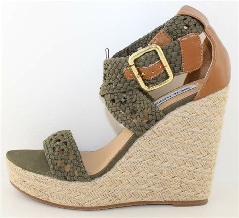 Womens Steve Madden Sandals Size 9 by Steve Madden Magestee Womens Green Khaki Wedge Sandal Heels Shoes Size 9 5 New Ebay
