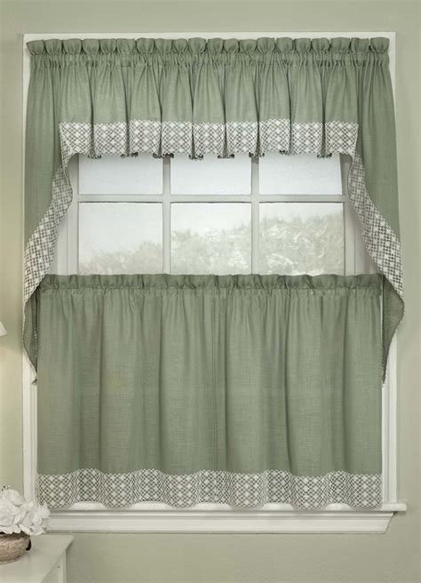 kitchen curtains valance salem kitchen curtains sage lorraine jabot swag