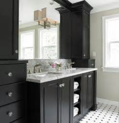 Elegant black bathroom vanity cabinets design in transitional bathroom