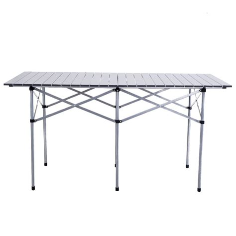 roll up portable table 55 quot roll up portable folding cing square aluminum