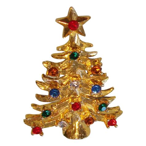 eisenberg ice christmas tree pin with multicolored