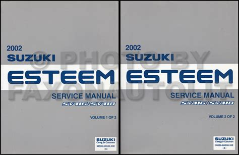 how to download repair manuals 1998 suzuki esteem transmission control 2002 suzuki esteem repair shop manual set original