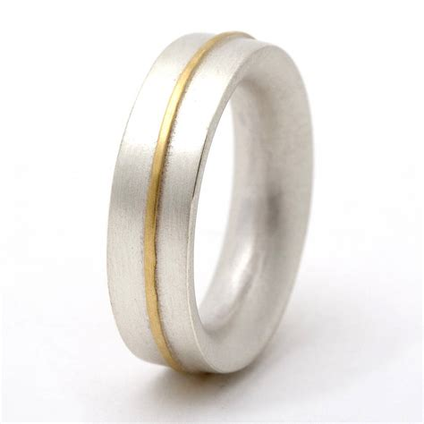 medium sterling silver ring with 18ct gold detail by tlk