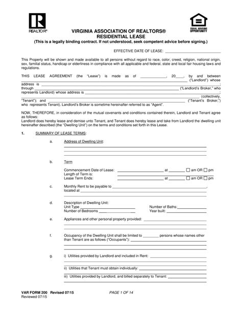 Free Virginia Association Of Realtors Residential Lease Agreement Pdf Eforms Free Fillable Virginia Lease Template