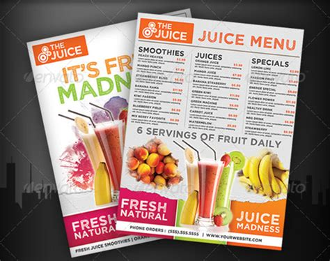 juice menu card templates 30 bar menus sle templates