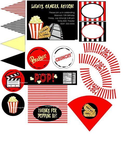 printable movie party decorations custom movie popcorn hollywood party printable invitations