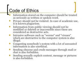 workplace code of conduct template computer ethics presentation
