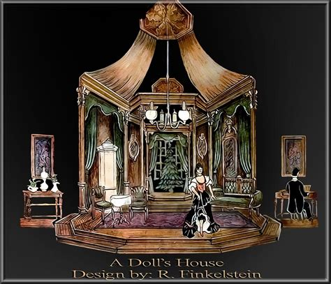 a doll house setting a dolls houce by ibsen set design by richard finkelstein stage designer