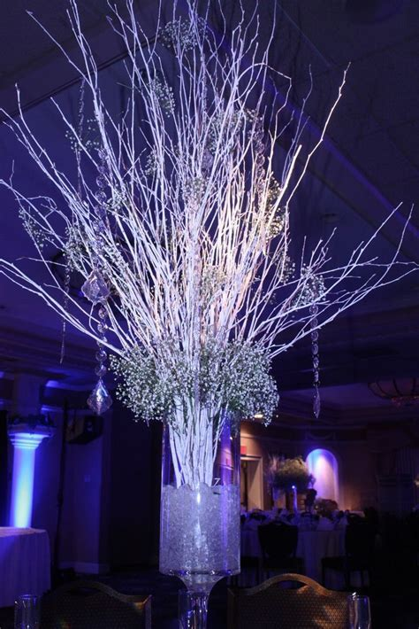 lighted tree centerpieces for weddings   Crushed ice in