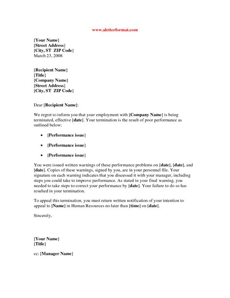 basic notice letter sample for employee termination vatansun