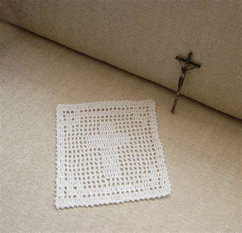 Filet Crochet Patterns For Home Decor Christian Cross Filet Crochet Doily Spiritual Decor Catholic