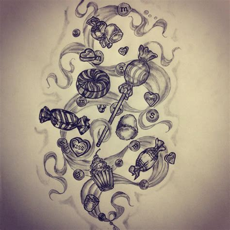 candy tattoo sketch by ranz