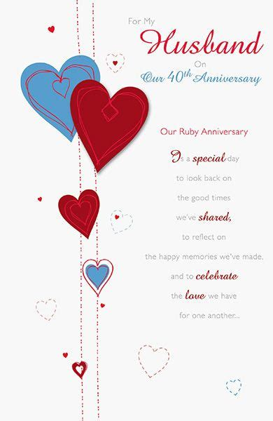 Wedding Anniversary Card For by Husband 40th Ruby Wedding Anniversary Card