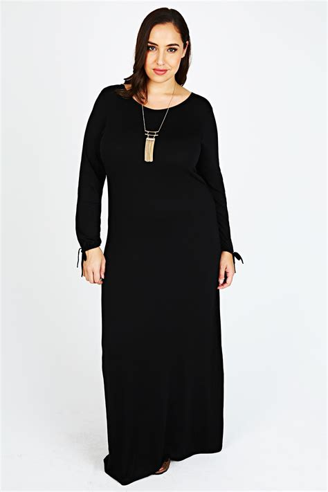 Sleeve Maxi Dress black sleeve maxi dress with gathered sleeves plus