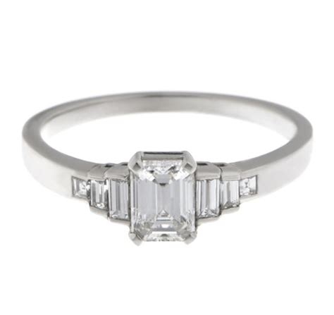 deco emerald cut ring deco emerald cut and baguette engagement ring