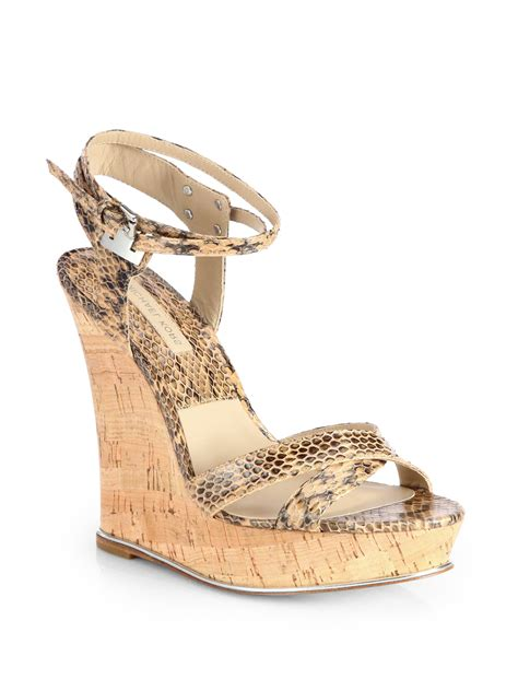 mk wedge sandals michael kors shana snake print leather wedge sandals lyst