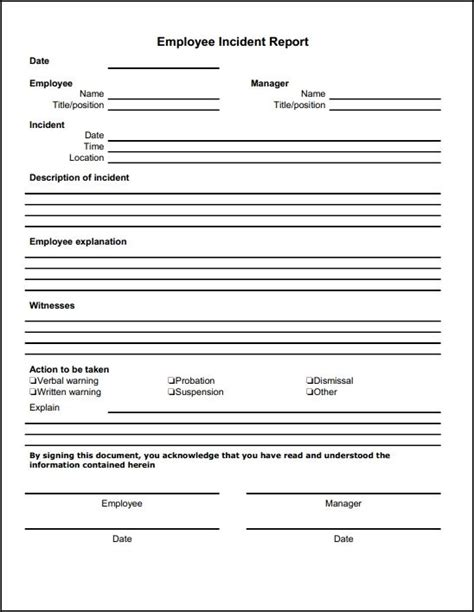 Cfd Report Template Employee Incident Report Template Description Of
