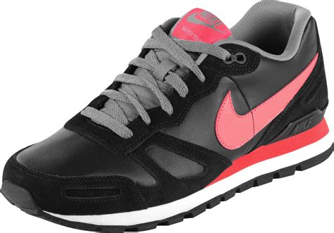 nike air waffle trainer leather shoes black neon red