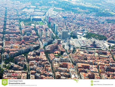 barcelona aerial view aerial view of barcelona with sants station from