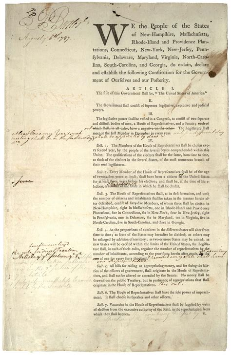 printable original us constitution two versions of the preamble to the constitution 1787