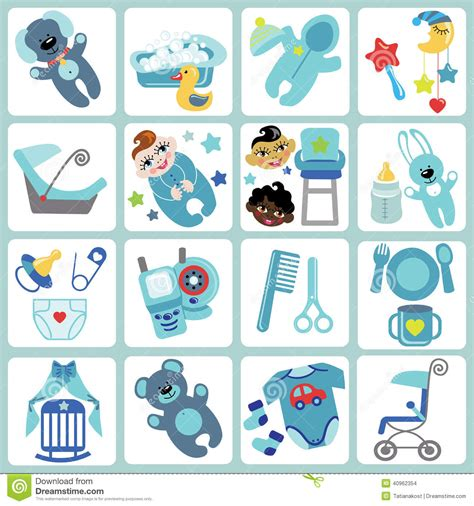Baby Born Bath And Shower cute cartoons icons for baby boy baby care set stock