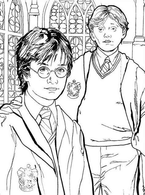 Hermione Granger Coloring Pages by Harry Potter Weasley And Hermione Granger Coloring