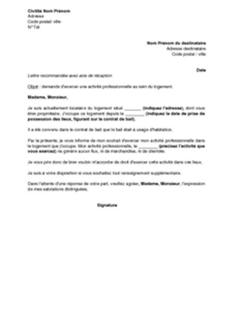 Exemple Lettre De Recommandation Appartement Exemple Gratuit De Lettre Demande Exercer Activit 233