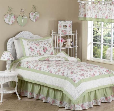 sweet jojo designs shabby chic pink green flower kid twin bedding set for girl ebay
