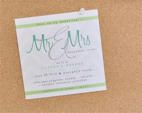 couples shower wedding invite aqua green white
