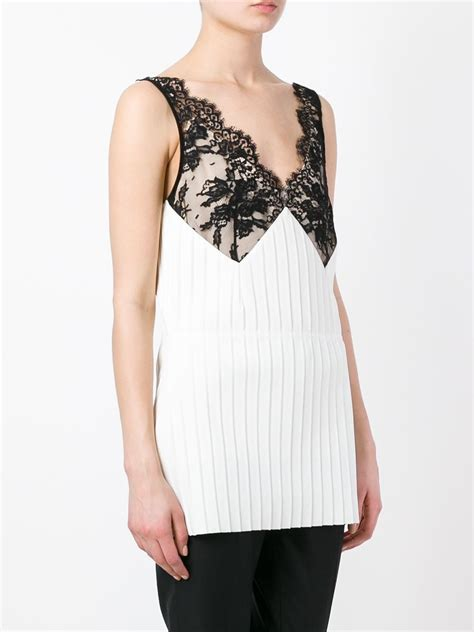 Bust Lace c 233 line lace bust pleated top in white lyst