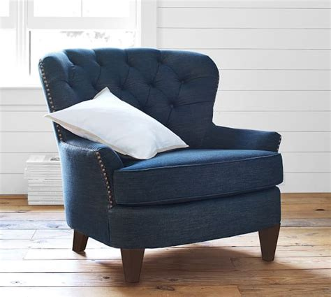 Cardiff Tufted Armchair by Cardiff Tufted Upholstered Armchair Pottery Barn