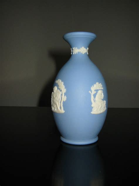 Wedgwood Vases Antique by Wedgwood Jasperware Medallion Blue Vase For Sale