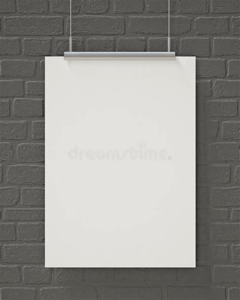 poster mock up on the brick wall stock vector image mock up blank poster hanging on the gray brick wall