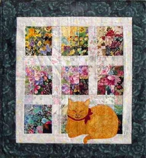 watercolor quilt pattern with cats and butterflies cat nap watercolor quilt kit whims