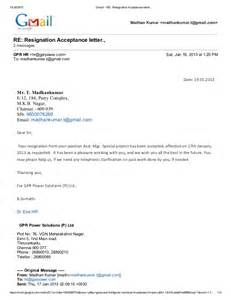 Letter To Accept Resignation by Gmail Re Resignation Acceptance Letter