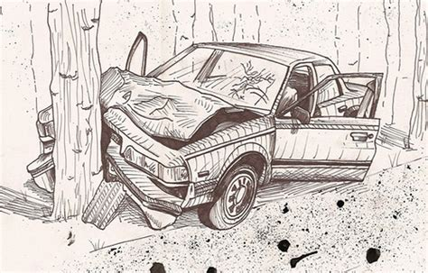 wrecked car drawing how to draw car wreck