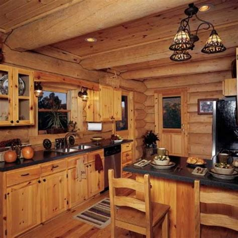 log cabin ceiling and cabinet in clear finished using