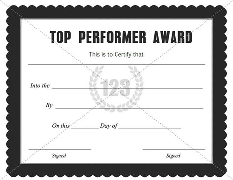 top performer award certificate template download free pdf