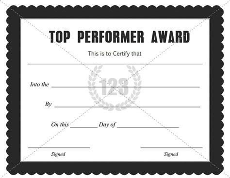 performer certificate templates top performer award certificate template free pdf