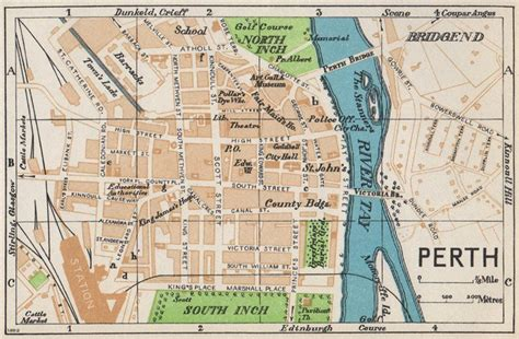 printable map perth city perth vintage town city map plan scotland 1959