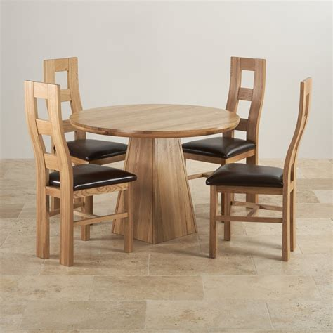 Provence Solid Oak Dining Set 3ft 7 Quot Table With 4 Chairs Circular Oak Dining Table And Chairs