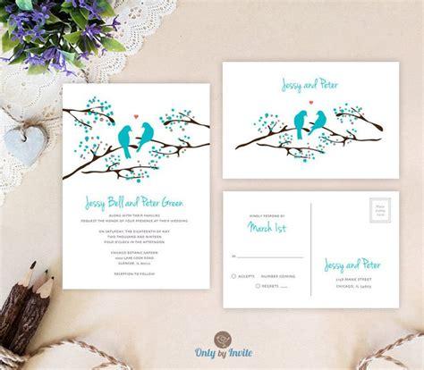 printed wedding invitations cheap birds wedding invitation with rsvp postcard blue tree