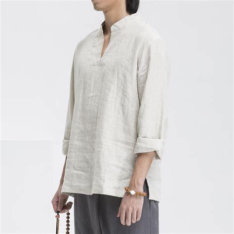 Batik Fashion Pria Nara T Shirt Green traditional style mens kung fu hanfu chi zen shirt 100 linen casual top collar
