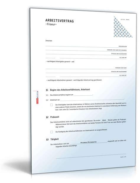 Vorlage Arbeitsvertrag Kündigen Arbeitnehmer Arbeitsvertrag Friseur Rechtssicheres Muster Zum